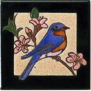 hand painted bluebird tile