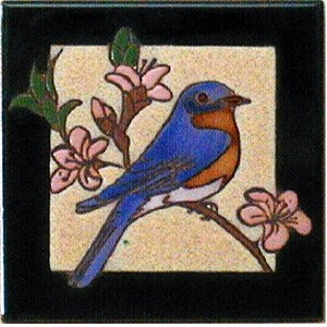 hand painted bluebird tile