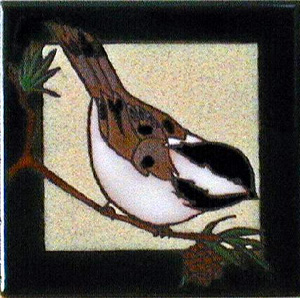 hand painted chickadee tile