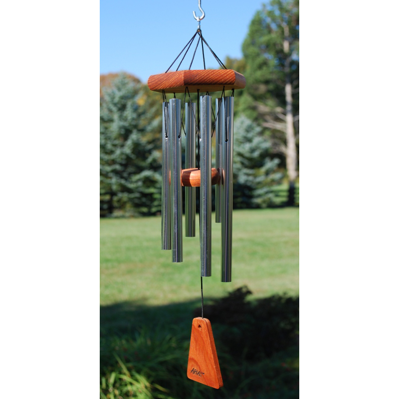 wood silver wind chime