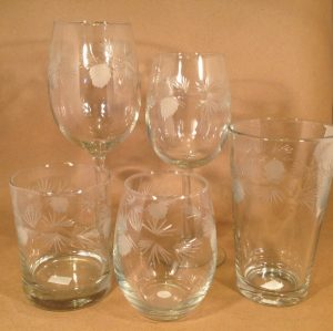 Pinecone etched Glassware