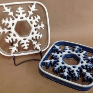 Snowflake pottery clay Trivet