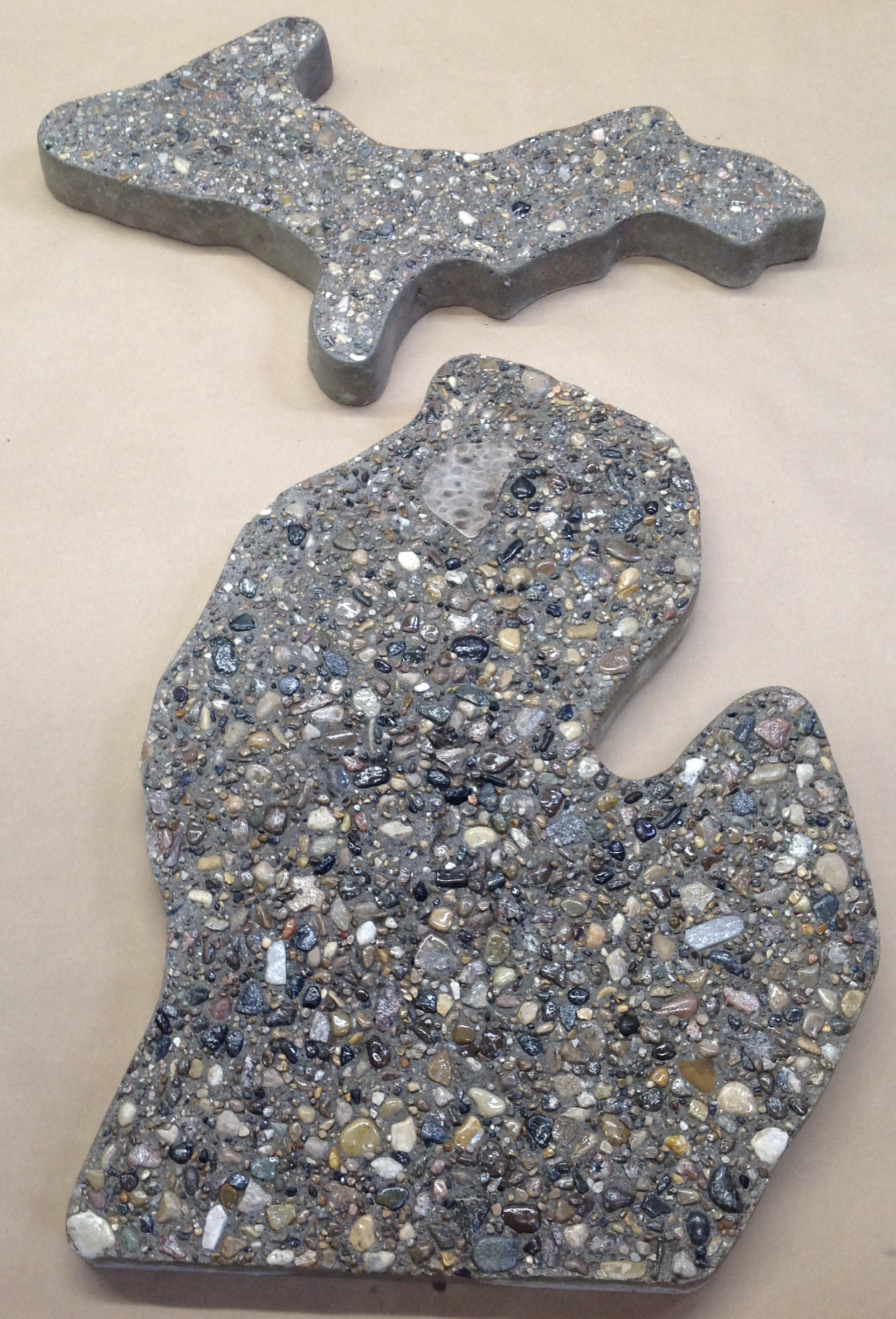 michigan stepping stone set with petoskey stone