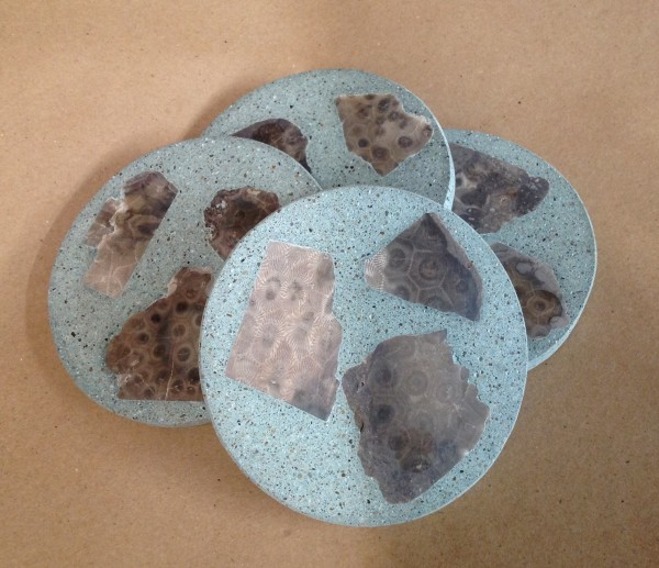 Petoskey stone and cement coaster