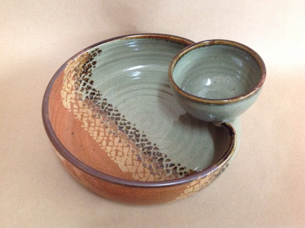 pottery chip dip serving tray