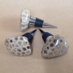 Petoskey stone wine stopper