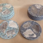 Petoskey stone and cement coasters