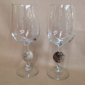 Petoskey stone wine glass