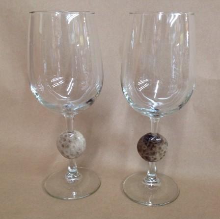 Petoskey stone wine glass