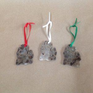 Petoskey stone mitten ornament