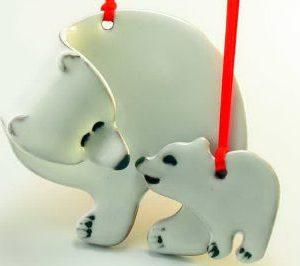 pottery polar bear ornament