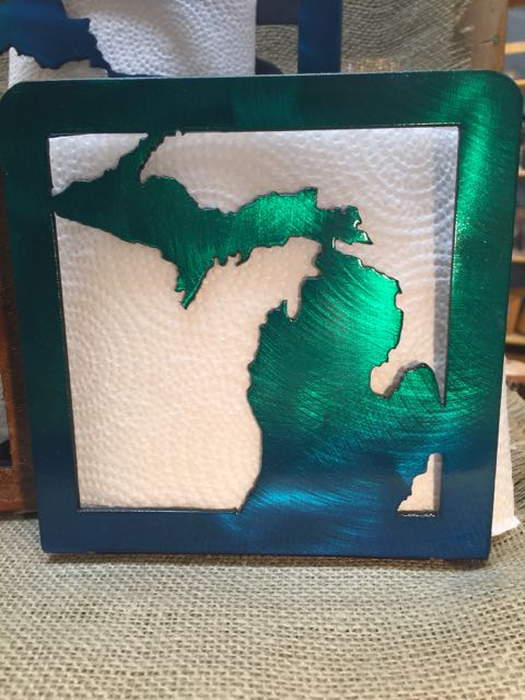 michigan metal napkin holder